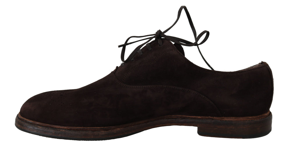 Brown Suede Goatskin Derby Dress Shoes