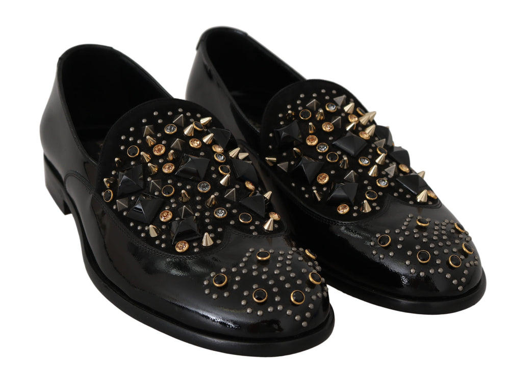 Black Leather Crystal Dress Loafers Shoes