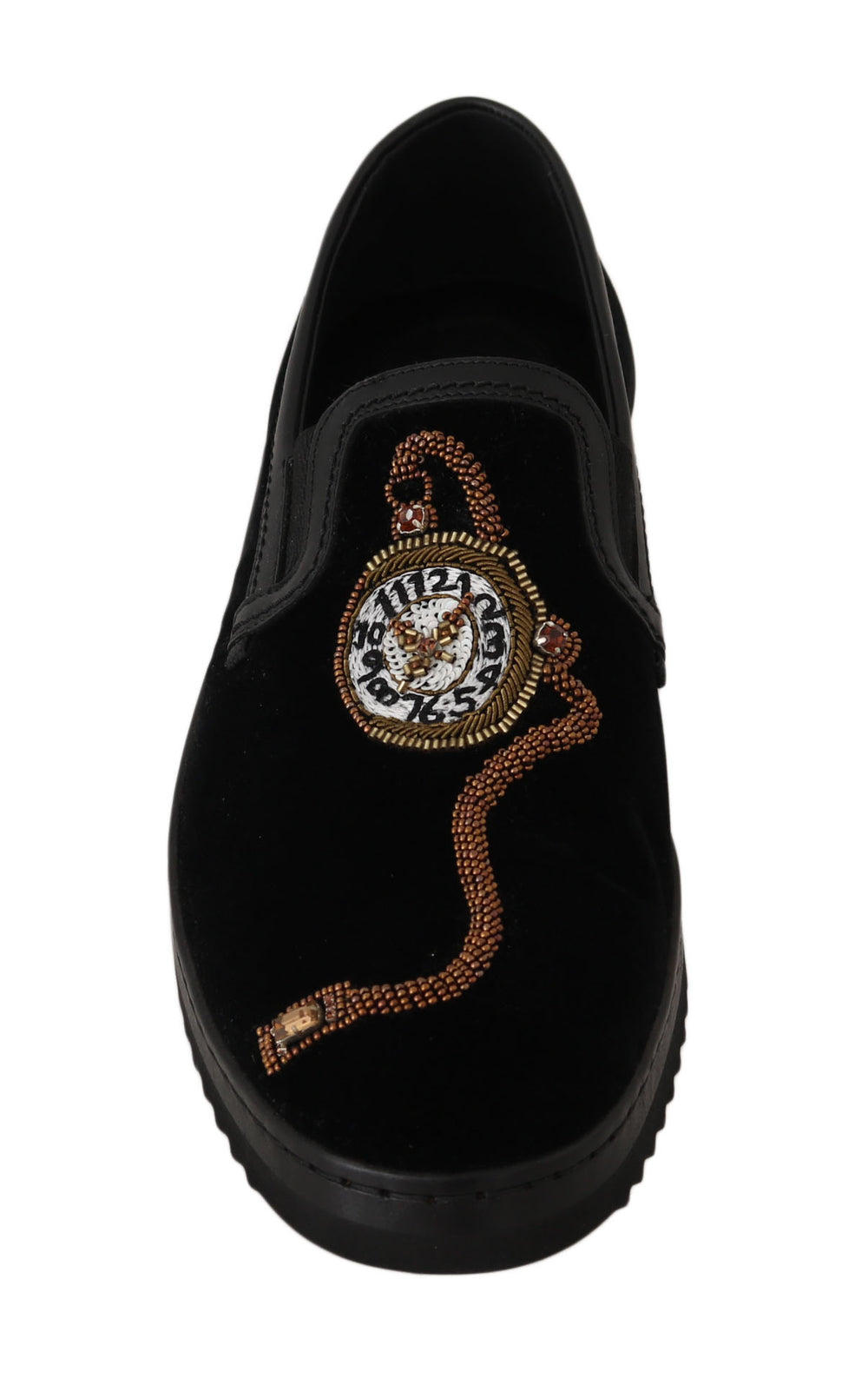 Black Velvet Leather Crystal Watch Shoes