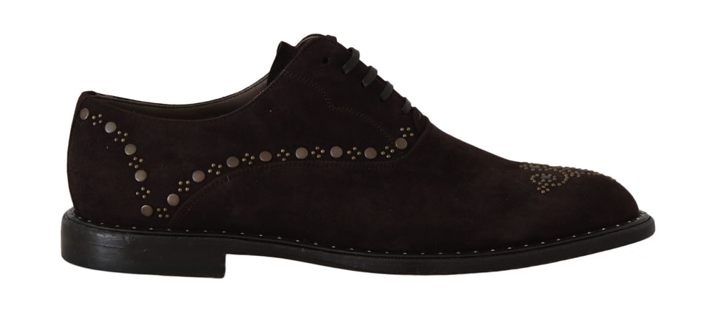 Brown Suede Marsala Derby Studded Shoes
