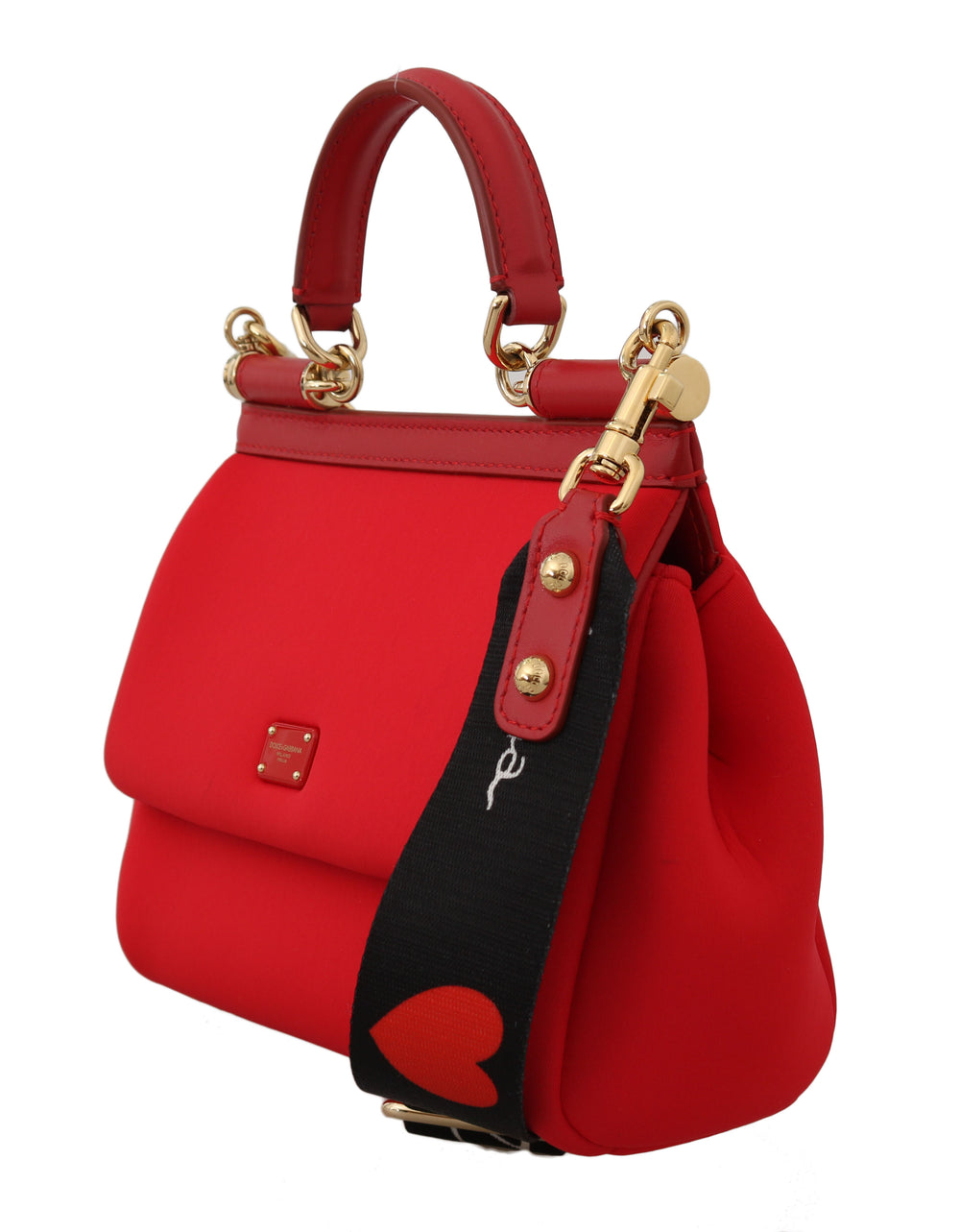 Red MISS SICILY Neoprene Heart Leather Shoulder HandBag - EnModa.no