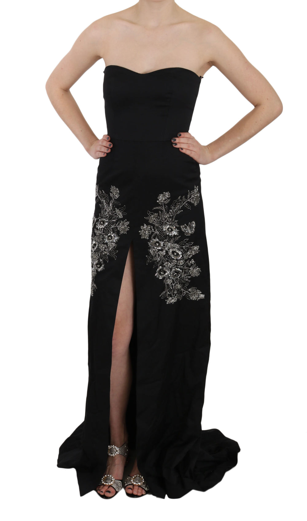 Black Sequined Flare Ball Gown Dress