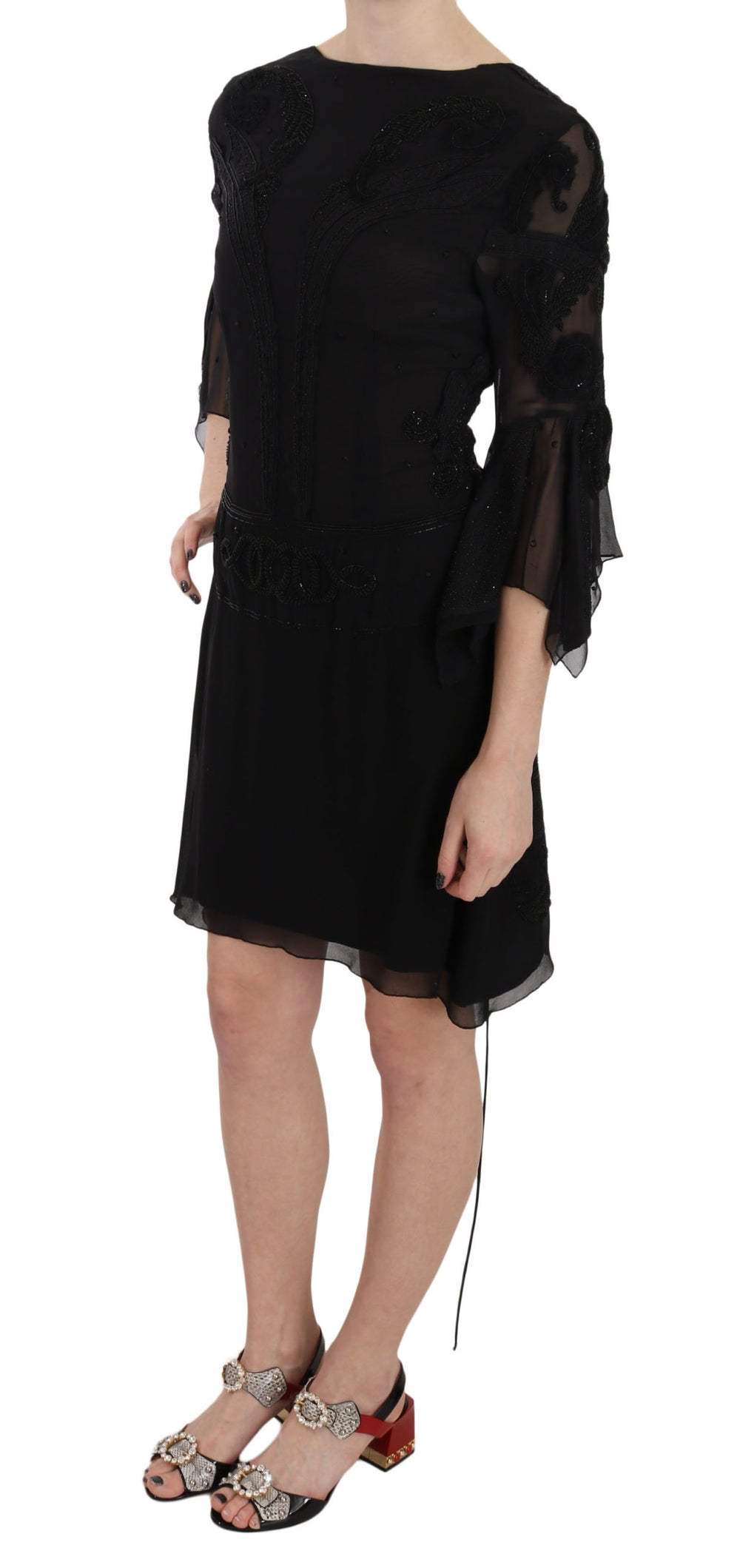 Black Sequined Silk Mini Shift Gown