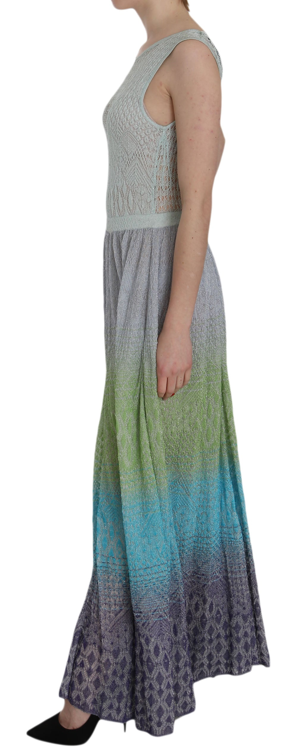 Multicolor See Through Maxi Donna Dress