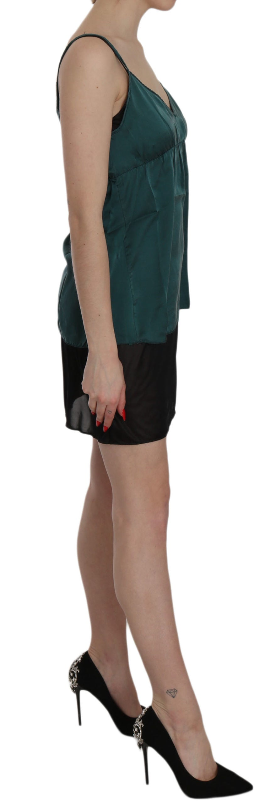 Silk Green Spaghetti Strap Shift Mini Dress
