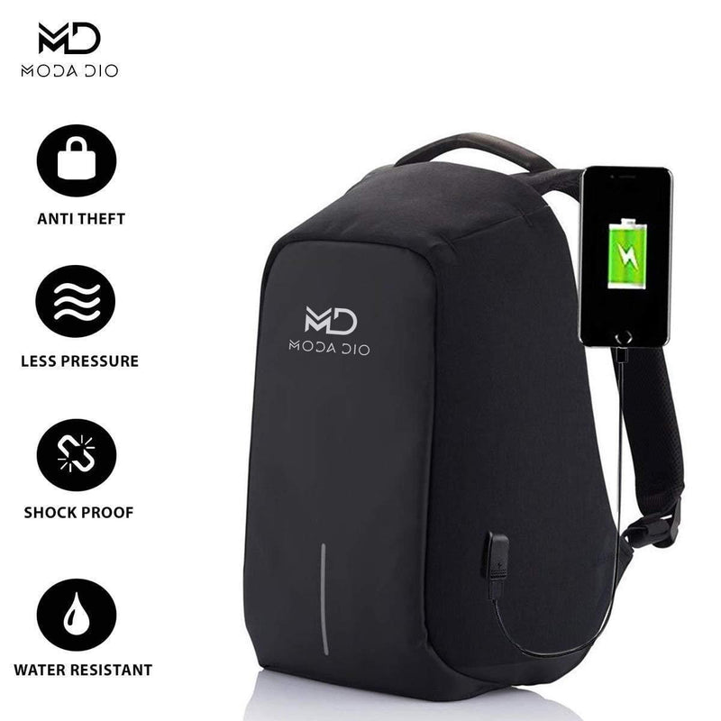 Moda Dio Vogue Fabric 15 L Waterproof Anti-Theft Backpack for Men and Women (Black) - Celestech Smartwatch & Bands, Wireless Earbuds, Audio