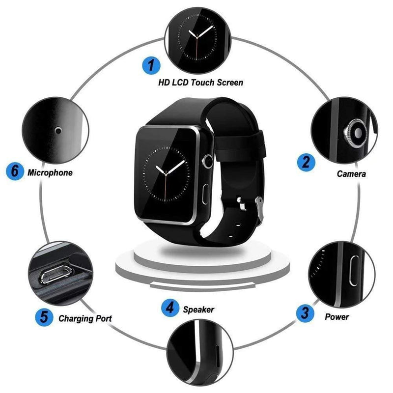 Celestech X6 Bluetooth Smartwatch with Camera and Sim Card Support Compatible