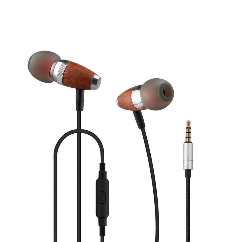 Celestech CTES60W Wired Earphone with Wooden Finish, Deep Bass and in Built Mic
