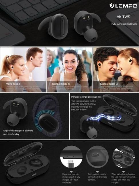 Celestech Air TWS High Quality Bluetooth Headset with Mic (Black, In the Ear)
