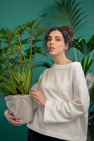 A model in beige ecological smock - CARMINE. Ethical and sustainable ECO fair fashion