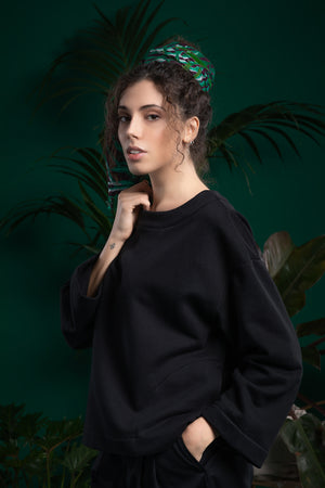 A model in black ecological smock - CARMINE. Ethical and sustainable ECO fair fashion