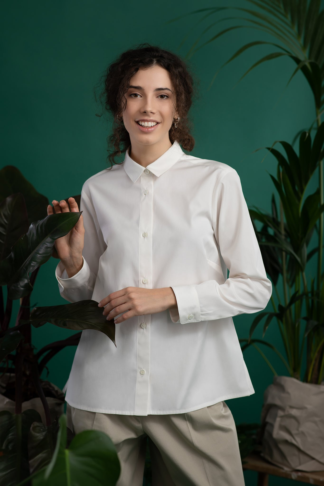 A model in white ecological shirt - MILANO. Ethical and sustainable ECO fair fashion