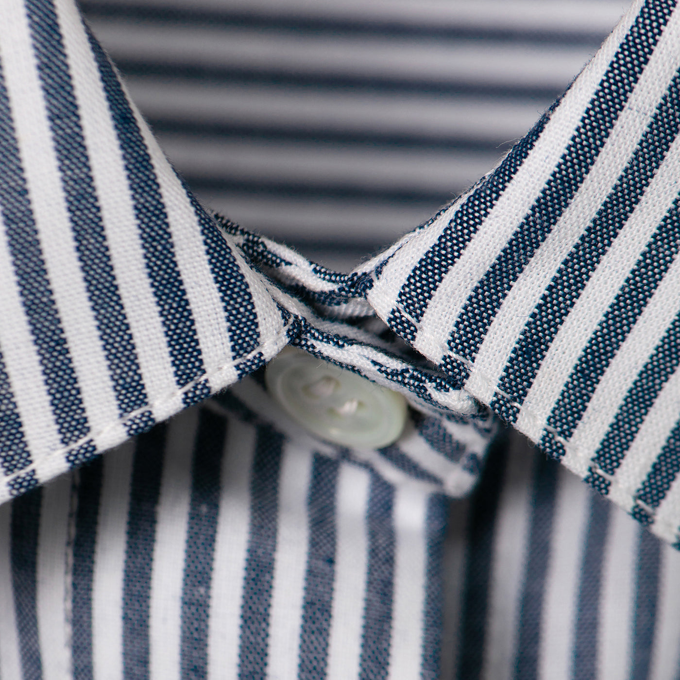 Striped blue-white eco shirt. GOTS certified textile. 100% natural. Sustainable fashion.