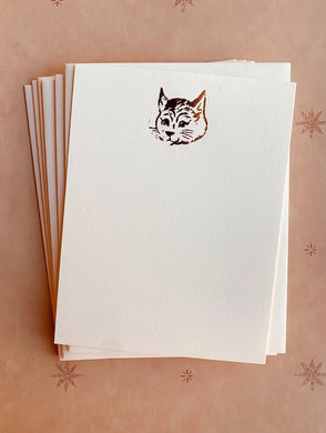 Cat Face Foil Pressed Stationery Set - PARCEL