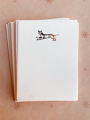 Cat Jumping Foil Pressed Stationery Set - PARCEL
