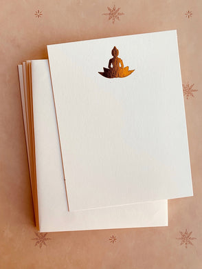 Buddha Lotus Foil Pressed Notecard Set - PARCEL