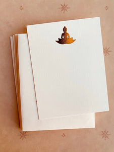 Buddha on Lotus Flower Foil-pressed Notecards