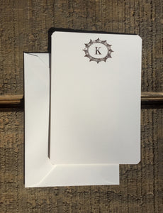 Foil-pressed Burst with Initial Notecards - PARCEL