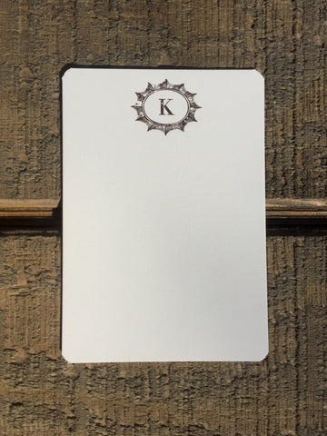 Rose Gold Foil-pressed Burst with Initial Notecards