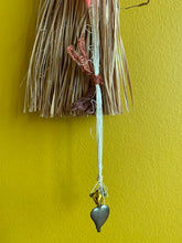 Load image into Gallery viewer, Vintage Straw Duster with Handmade Heart Amulet - PARCEL