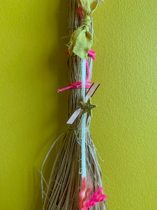 Vintage Straw Duster with Handmade Heart Amulet - PARCEL