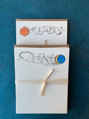 Clouds Facing Moon and Sun Notecards
