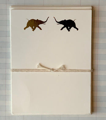 Trunks Up Elephants Pair Foil-pressed Notecards