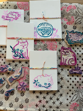 Blockprint Style Stamped Notecard Sets