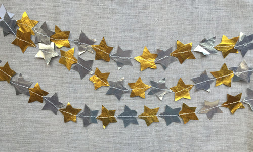 Metallic Paper Stitched Star Garland - PARCEL