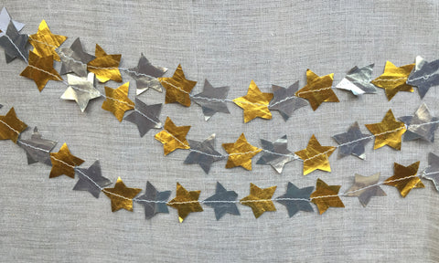 Metallic Paper Stitched Star Garland