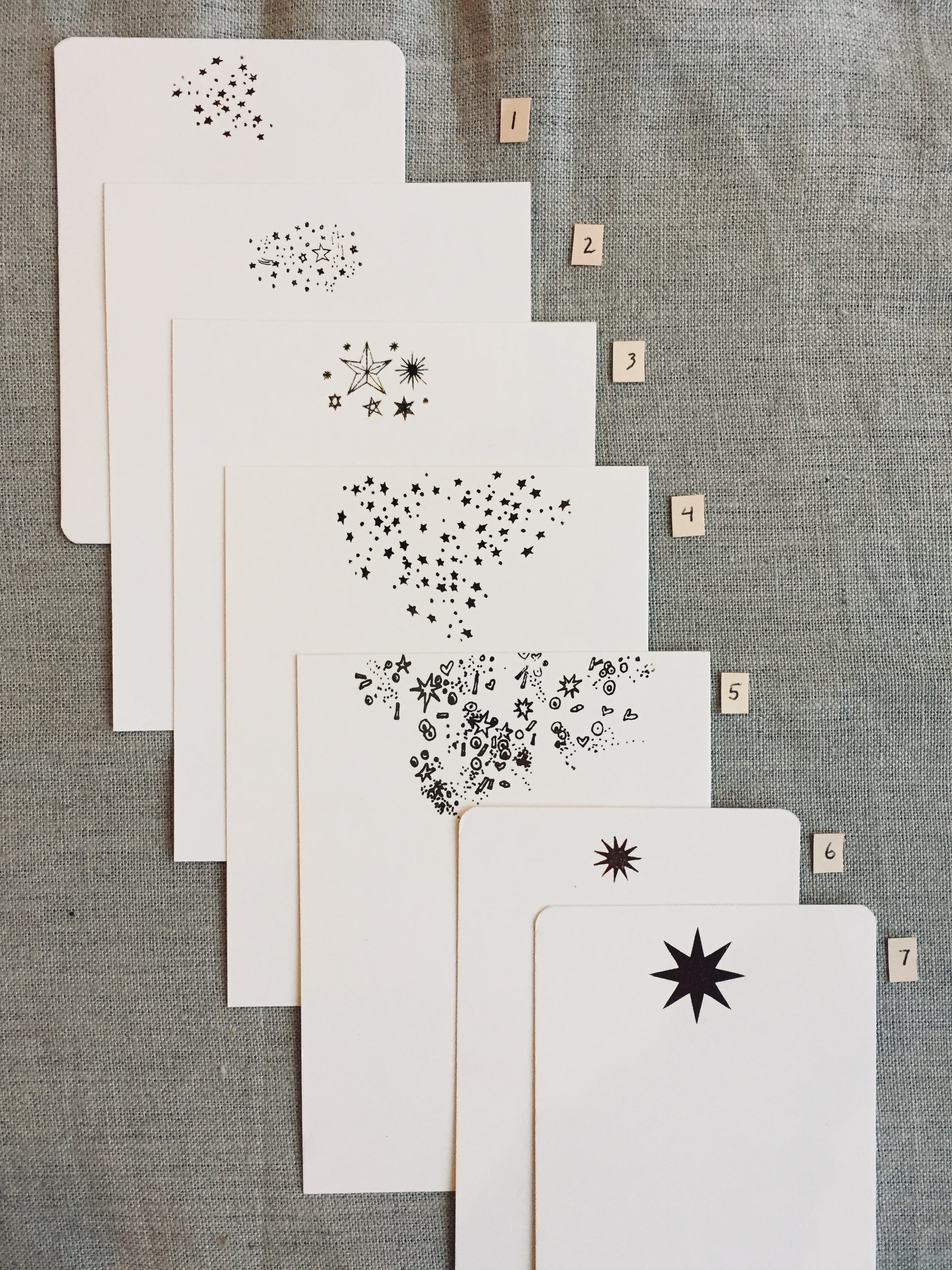 Foil pressed star-themed notecards