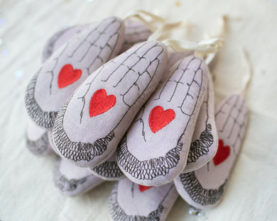 Hand in Heart Ornament by Skippy Cotton