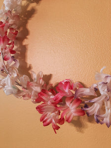 Vintage Japanese Flower Wreath, Handmade Paper decoration, READY TO SHIP - PARCEL