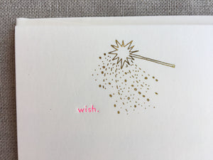 Set of 6, Hand Foil Pressed Wish Cards, Magic Wand Stationery, Hand Foil Stamped, A2 Flat Card with Matching Envelope - PARCEL