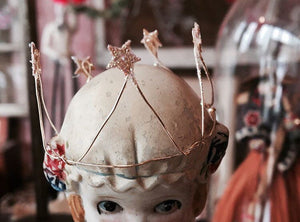 Tiny Wire Crowns, Set of Three, Handmade, MADE TO ORDER, cupcake topper, Doll Sozed Crown - PARCEL