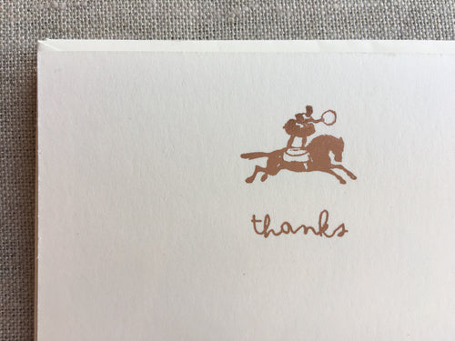 Set of 6, Hand Foil Pressed Thank You Cards, Thanks, Circus girl on Horse, Foil Stamped Cards - PARCEL