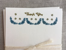 Load image into Gallery viewer, Set of 6, Hand Printed 'Thank You's', Festoon and Star Stationery, A2 Flat Cards with Matching Envelope - PARCEL