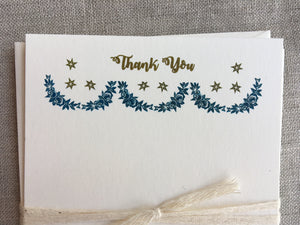 Set of 6, Hand Printed 'Thank You's', Festoon and Star Stationery, A2 Flat Cards with Matching Envelope - PARCEL