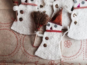 Single Handmade Vintage Inspired Snowman Ornament, Vintage Materials, READY TO SHIP - PARCEL