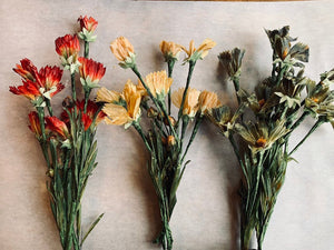 Set of Three Vintage Waxed Flowers, Vintage Flower Bouquet, Artificial Flowers, READY TO SHIP - PARCEL