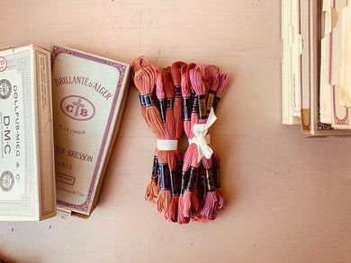 Vintage DMC Embroidery Bundles, Hand Embroidery Floss, Bunch of 10 Threads, Assorted Colors - PARCEL