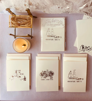 MADE TO ORDER, Hand Foil Pressed Stationery, Assorted Set of 6 Cards, Lullaby and Goodnight - PARCEL