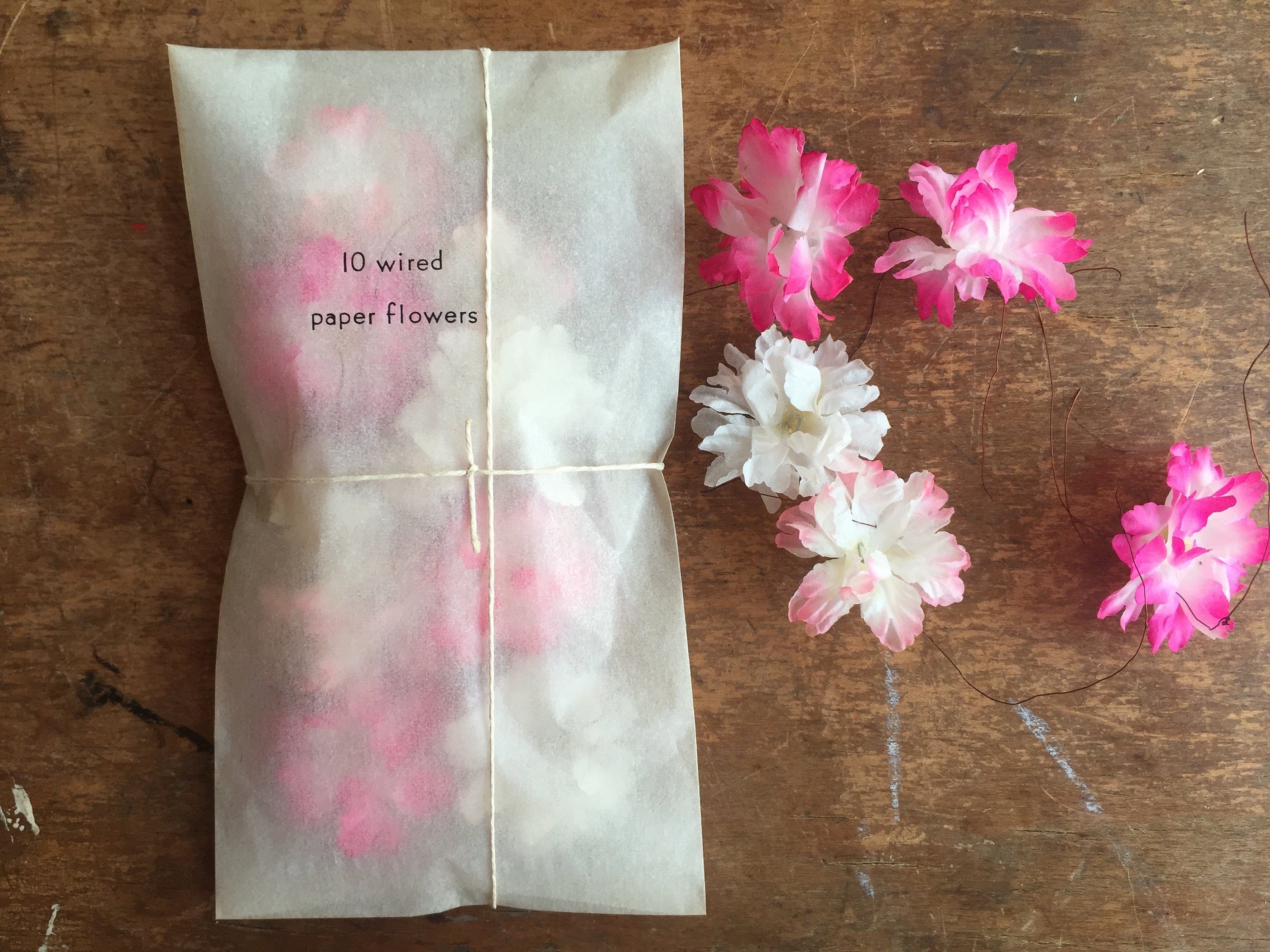 READY TO SHIP, Vintage Floral Stock, Japanese Paper Blossom, Vibrant Pinks - PARCEL