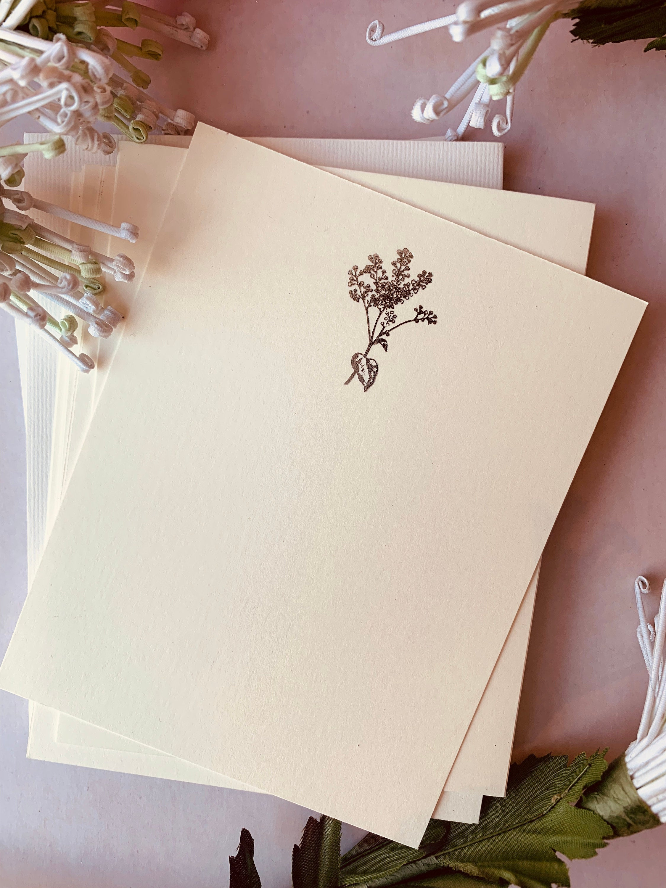 MADE TO ORDER, Hand Foil Pressed Stationery, Set of 6 Cards, Floral Sprays, Small or Large Flower - PARCEL