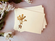 Load image into Gallery viewer, MADE TO ORDER, Hand Foil Pressed Stationery, Set of 6 Cards, Floral Sprays, Small or Large Flower - PARCEL