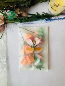READY TO SHIP, Ginger Blossoms, Vintage Floral Stock, Japanese Silk Blossom with Paper Stamen, Vibrant Colors, - PARCEL