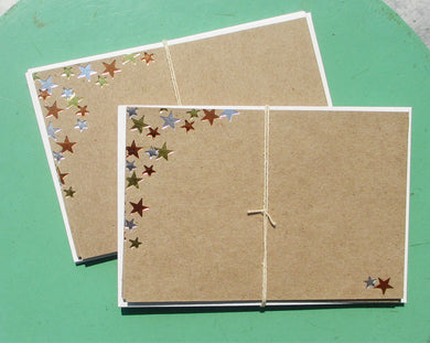 Parcel: Handcrafted METALLIC Foil-Pressed STAR CARD Set / Part of the Martha Stewart American Made Collection! - PARCEL