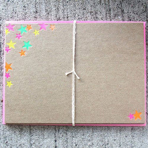 Parcel: Handcrafted NEON Foil-Pressed STAR STATIONERY Set / Part of the Martha Stewart American Made Collection! - PARCEL