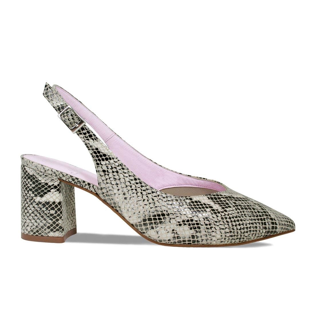 Gray Snake Print Block Heel Sling-Back Pumps