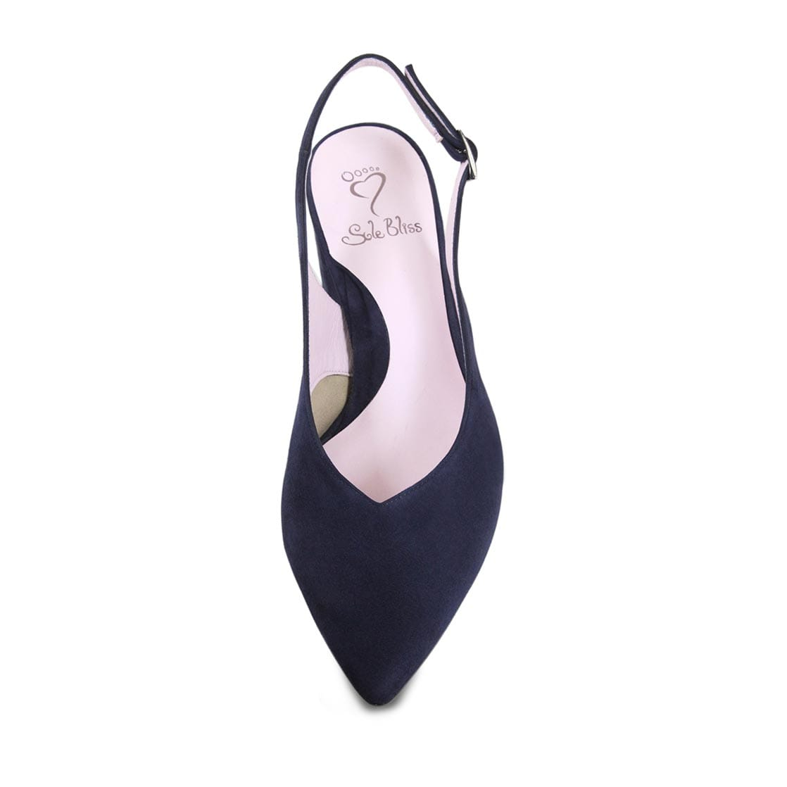 Navy Suede Sling-Back Block Heel Pumps